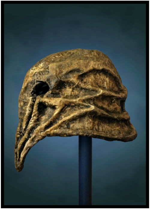 Left side of mask. It has a flared-helmet shape. Ridges sweep back from its face to form angular patterns that wrap around its head.