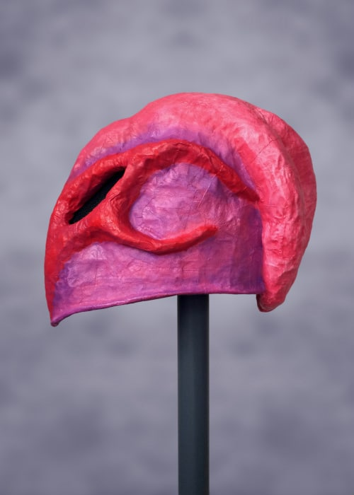 Left side of mask. There are no tentacles on this side. It is purple, with two red curving structures that sweep back from the face and are reminiscent of a temporal ridge and cheek bone.