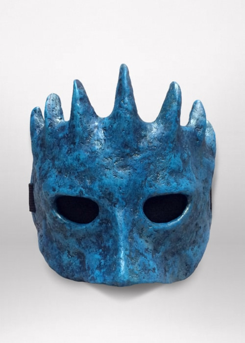 Front of turquoise half-mask.